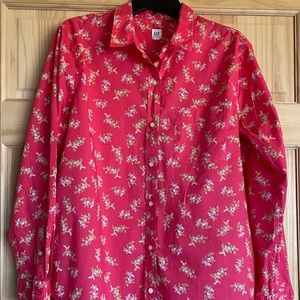 Gap Pink with Floral Button Down Shirt XL